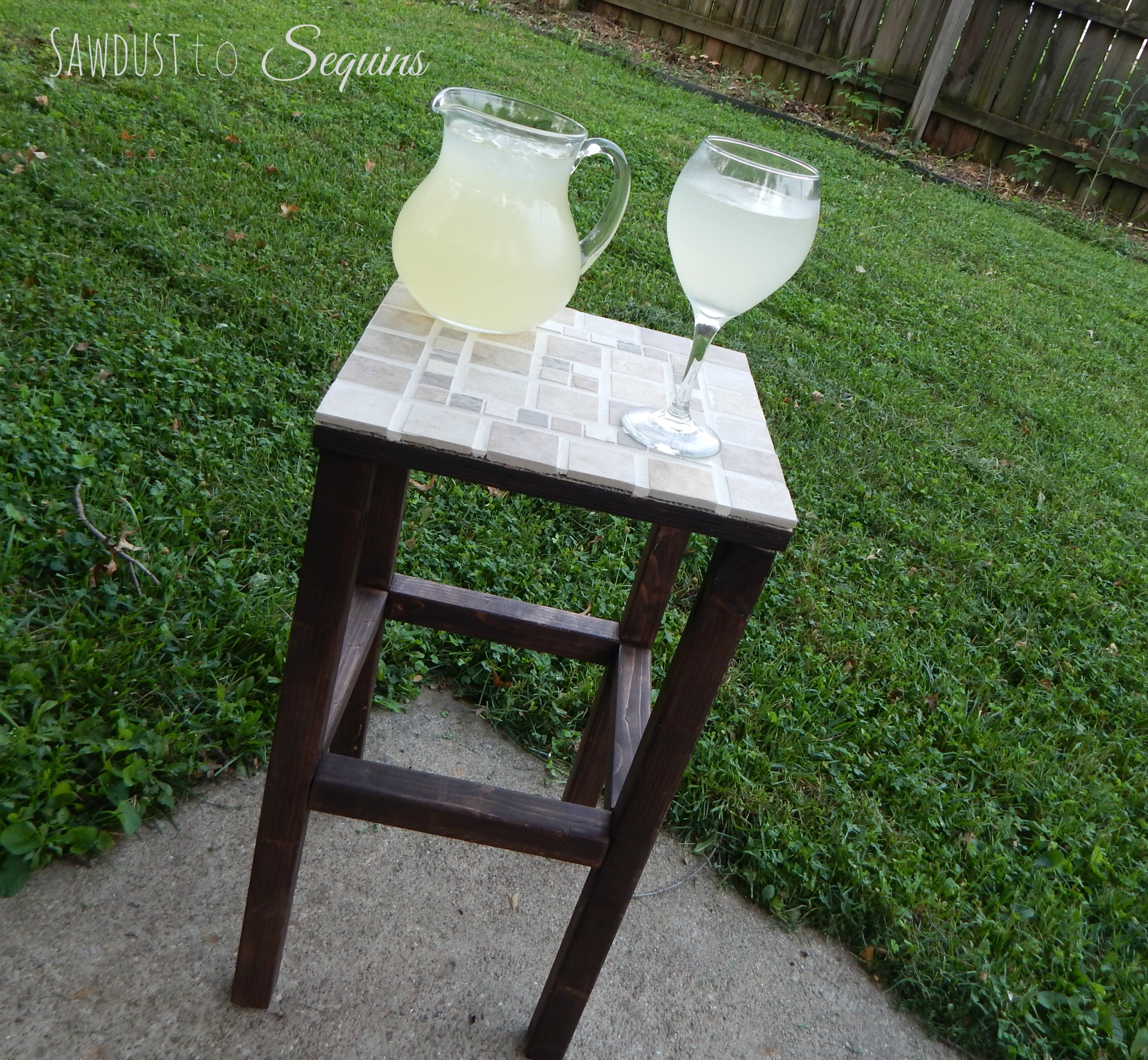 Diy tiled end table sawdust to sequins for Make your own end table