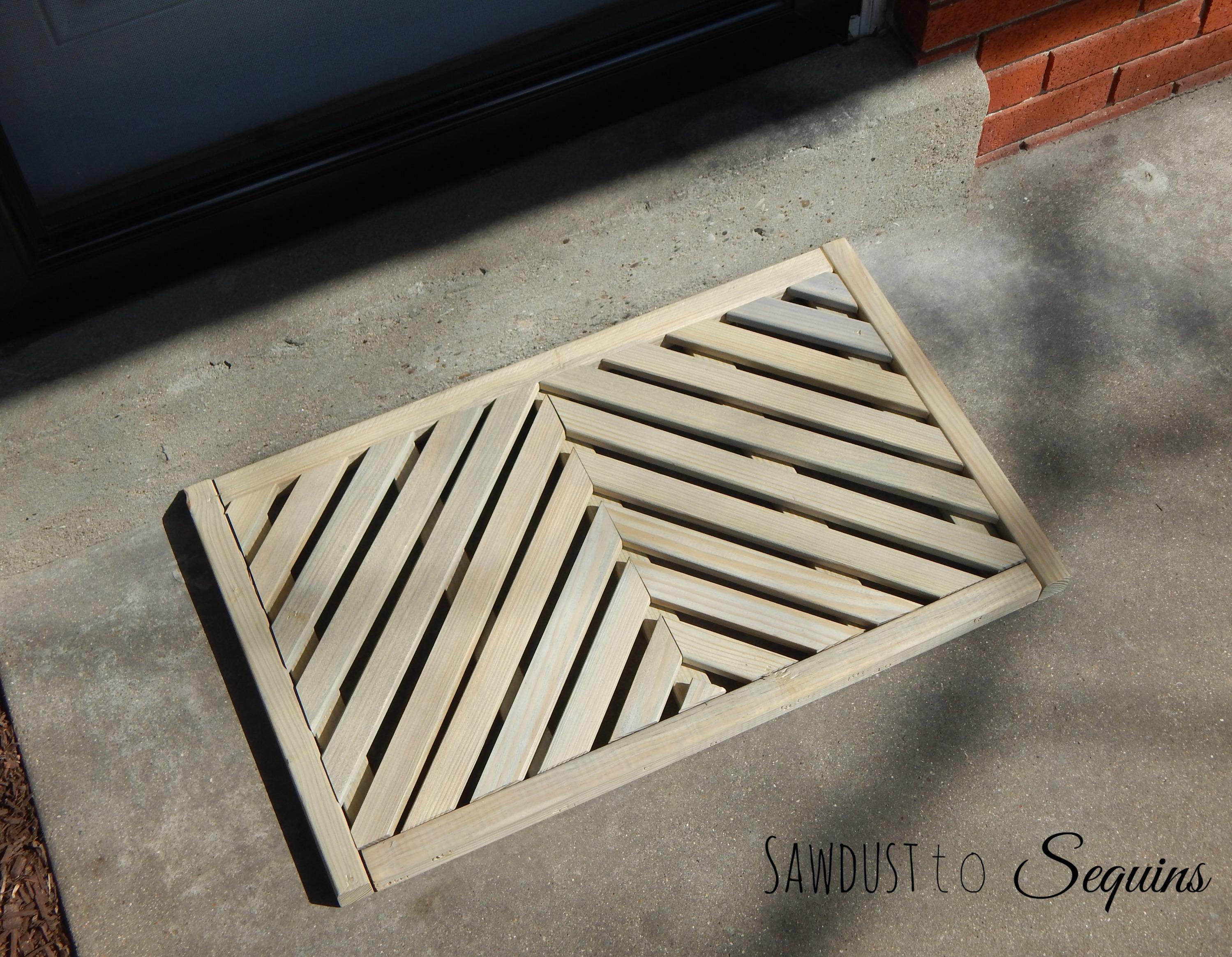 DIY WORKSHOP WOODEN DOOR MAT Sawdust to Sequins
